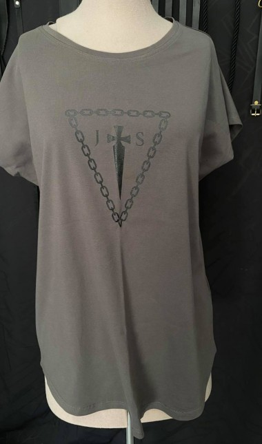 Gun metal Grey drop shoulder tee